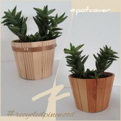Wood Vase Cover for Succulent and Flower-Round 10-Handicraft